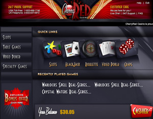 Cherry Red Casino Homepage