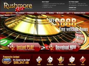 Rushmore Casino Homepage
